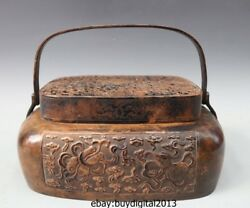14 Chinese Ancient Pure Copper Handwork Eight Treasures Portable Heating Censer