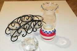 Partylite Candle Glacier Red White Blue Stand Globe Metal 3-teir Rea Light