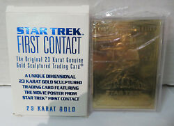 STAR TREK FIRST CONTACT Embossed 23 KARAT GOLD CARD by Score Board 1996 in BOX