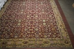 23X26 Antique Indian Agra Rug Oversize 1890s Hand-Knotted Wool Bird Snake Design
