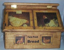 Bread Box Rooster Handcrafted Solid Pine Made In Usa Stained Golden Oak Breadbox
