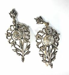 Old Antique Vintage Diamond Dangle/drop Earrings White Gold Victorian Jewelry