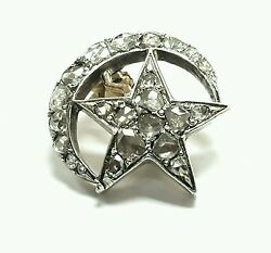 Old Antique Vintage Diamond 14k White Gold And Silver Crescent Star Pin Brooches
