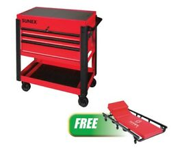 3 Drawer Slide Top Utility Cart, Red W/free 6 Caster Creeper Suu-8035xtcr New