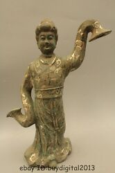 15 China Chinese Old Bronze Silver Maidservant Maid Statue