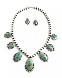 Native American Sterling Silver Navajo Handmade Royston Turquoise Necklace Set