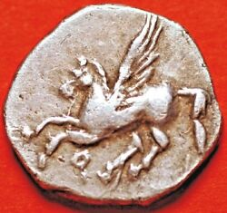 Ancient Corinth 350-306 Bc Silver Drachm Head Of Aphrodite And Pegasus Flying