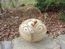 Decorated Real Carved Egg Purse Handbag Collectible Crystal Decoration Ooak