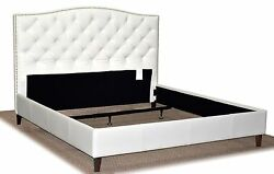 Queen Size White Genuine Leather Diamond Tufted Bed With Pewter Nail Head Trim