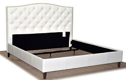 King Size White Genuine Leather Diamond Tufted Bed With Pewter Nail Head Trim