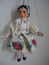 Antique Norwegian Female Marionette Wood And Ceramic Toy Norway Puppet