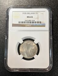 1935 Ms65 Ireland Silver Shilling Unc Eire Km 6 Ngc Registry Coin Top Pop 7/0