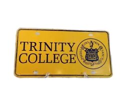 Vintage Rare Trinity College Yellow Metal License Plate Connecticut Liberal Arts