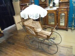 Antique J.b. Sweet And Son Victorian Pram Baby Carriage W/ Parasol Patd 1882