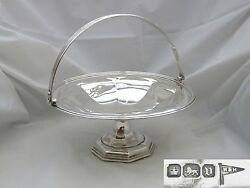 Rare Geo V Hm Sterling Silver Swing Handled Fruit Basket 1913