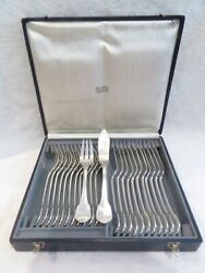 Gorgeous French Sterling Silver 24p Fish Cutlery Set Contours Nets 1465g 517oz