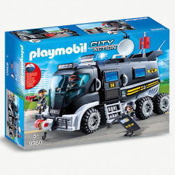 Playmobil 9360 City Action Swat Truck With Working Lights And Sound New