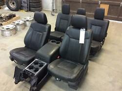 2011-2013 Ford F350 Black heated cooled leather seats & console crew cab as31385