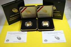 2014-w Mint Baseball Hall Of Fame Gold 5 Coins W/boxes And Coas 2 Coin Set
