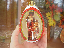 Hand Carved Decorated Real Goose Egg Nutcracker Christmas Tree Decoration