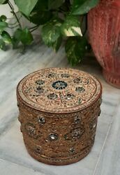 Vintage Old Wooden Round Box With Real Gold Embossed Work Colorful Mirror Work