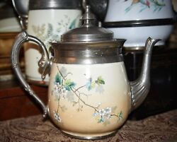 Antique Early 1800's Pewter Graniteware Enamel Teapot Coffee Pot Hand Painted