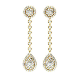 1.75 Carat Halo Round And Pear Cut Diamonds Drop Earrings In 18k Yellow Gold