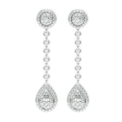 1.75 Carat Halo Round And Pear Cut Diamonds Drop Earrings In 18k White Gold