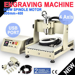 USB 800W 4 Axis 3040 CNC Router Engraving Drilling Milling Machine 220V DE