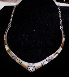 Native American Sterling Silver White Opal And Tiger Eye Inlay Necklace And Earrings