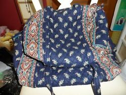 Vera Bradley Large And Small Duffel Bag Set In Retired Navy Pattern Indiana Tags