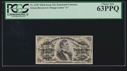 Us 25c Fractional Currency 3rd Issue Letter 'a' Fr 1295 Pcgs 63 Ppq Ch Cu 020