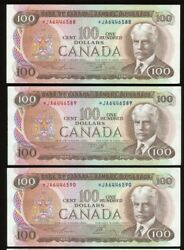 Lot Of 3 Consecutive 1975 Bank Of Canada 100 Ja Replacement Notes