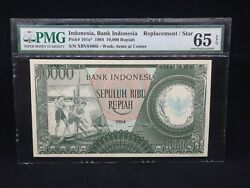 1964 Indonesia 10000 Rupiah P-101a Replacement/star Pmg 65 Epq