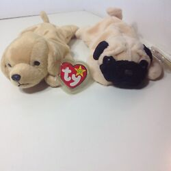 Retired Beanie Baby Lot Of 2 Pugsly Pug Dog Tag Error Fetch Golden Retriever Pup