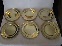 Antique French Sterling Silver Minerve Dessert Plates 6 Louis Xv St 1900g