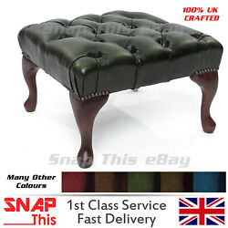 Chesterfield Deep Buttoned Queen Anne Footstool 100 Antique Chair Sofa Leather