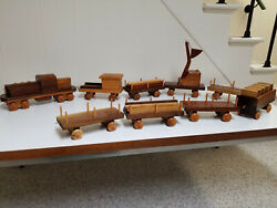German Handcrafted Wooden Train Set With Logging Truck And Trailer