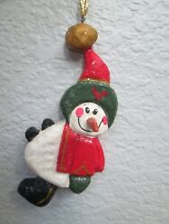 Rare 3d Nose House Of Hatten 1998 To From Christmas Ornament Or Gift Tag Snowman