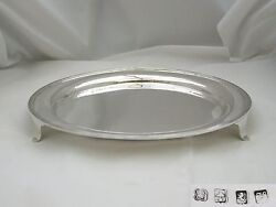 Rare Edwardian Hm Sterling Silver 3 Footed Salver 1904