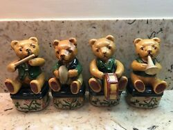 4 Vintage Collectible Porcelain Teddy Bears With Musical Instruments