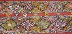 Rare Large Antique 1940's Camel Bag Embroidered Panels Wool Tribal Rug 7x7ft