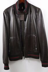240 3400 Brown Leather Red Green Stripe Jacket Size 40 100 Authentic
