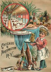 1880's Chicago And Northwestern R. Y. Dinning Car Victorian Trade Card D