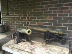 Superb Pair Large Ornamental Brass & Iron Cannons. Fire side. Front Door