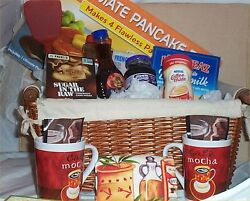 Gift Basket Pancake Pan And Mix Deluxe Syrup Kitchen Towel Coffee Mugs Cocoa Jam