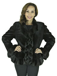 Woman's Black Sheared Mink Fur Jacket with Ruffles