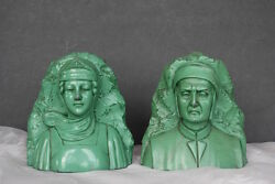 Dante And Beatrice Bookends Vintage Jennings Brothers Bookends Vintage Bookends