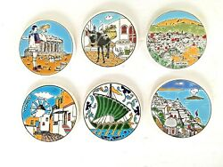 Vintage Lot Of 6 Hand Painted Round Coasters Tiles Santorini Made In Greece 3.5