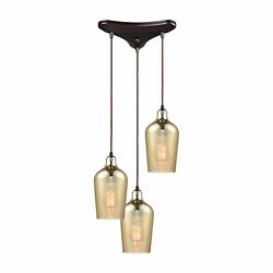 Hammered Glass 3 Light Linear Bar Fixture In Oil Rubbed Bronze With Hammered ...